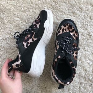 leopard chunky sneakers